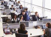 Funcionários trabalhando em departamento de empresa